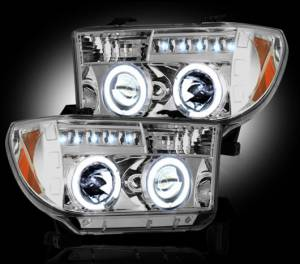 RECON - RECON 264194CL | CLEAR Projector Headlights w/ LED Halos - For Toyota Tundra 07-2013  / Sequoia 08-13