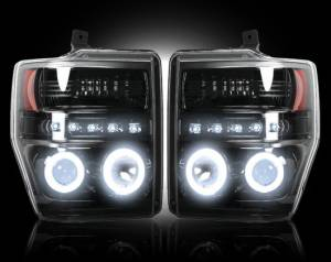 RECON - Recon 264196BKCC | SMOKED Projector Headlights w/ CCFL Halos For Ford Superduty 08-10