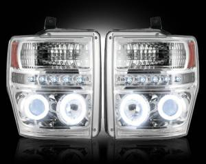 RECON - Recon 264196CLCC | Clear Projector Headlights w/ CCFL Halos For Ford Superduty 08-10