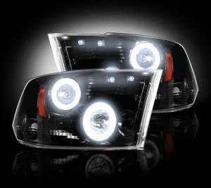 RECON - Recon 264270BKCC | Smoked Projector Headlights w/ CCFL Halos - Ram 1500 09-12 & 2500/3500 10-13