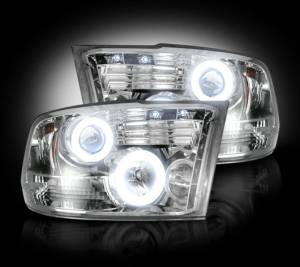 RECON - Recon 264270CLCC | Clear Projector Headlight Set w/ CCFL Halos For 09-12 Ram 1500 & 10-13 Ram 2500/3500