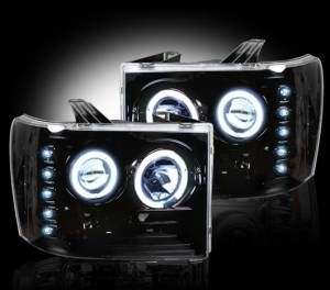 RECON - RECON 264271BK | SMOKED Projector Headlights w/ CCFL Halos For GMC Sierra & Denali 2007-2013