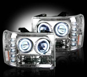 RECON - RECON 264271CL | CLEAR Projector Headlights w/ CCFL Halos For GMC Sierra & Denali 2007-2013