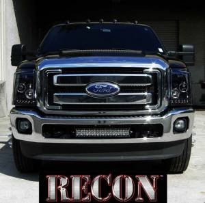 RECON - Recon 264272BK | Smoked Projector Headlights w LED Halos & DRLs For Ford Superduty 2011-2016