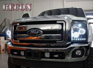 RECON - RECON 264272BKCC | Smoked Projector Headlights w/ CCFL Halos - Ford Superduty 11-16