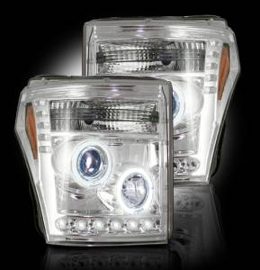 RECON - Recon 264272CL | CLEAR Projector Headlights (Ford Superduty 2011-2016) w LED Halos & DRLs