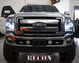 RECON - RECON 264272CLCC | Clear Projector Headlights w/ CCFL Halos - Ford Superduty 11-16