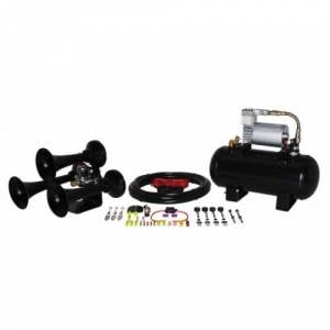 HornBlasters - Hornblasters HK-BA-127H Bandit 127 Train Horn Kit Black 1.5 Gallon (full Package)
