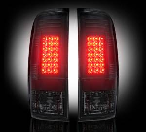 RECON - RECON 264172BK | LED Tail Lights - SMOKED (1999-2007 Ford Superduty F250 - F650 & 1997-2003 F150)