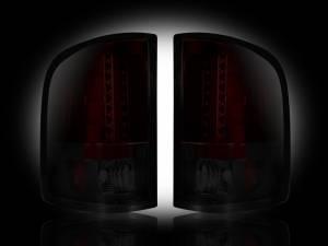 RECON - RECON 264175RBK | LED Tail Lights - DARK RED SMOKED (2007-2013 Silverado & Sierra Dually)