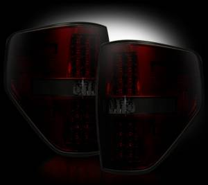 Recon - RECON 264168RBK | LED Tail Lights - RED SMOKED (2009-2014 Ford Raptor & F-150)