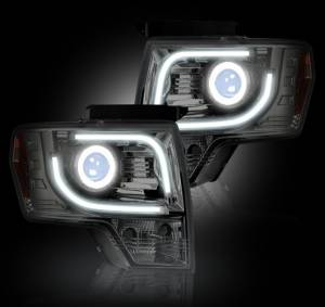 RECON - Recon 264273CL | CLEAR Projector Headlights For 13-14 Ford F150 / Raptor w/ OEM Projectors