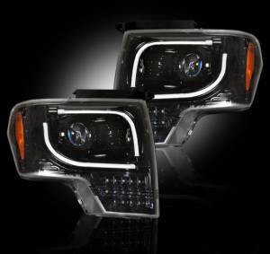 RECON - Recon 264273BKC | SMOKED Projector Headlights For 13-14 Ford F150 / Raptor w/ OEM Projectors