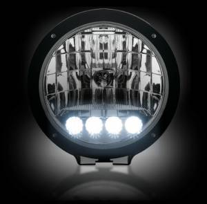 "RECON - RECON 2646HIDCL | 6"" Round HID Driving Light w/ LED Daytime Running Lights - Clear Lens"