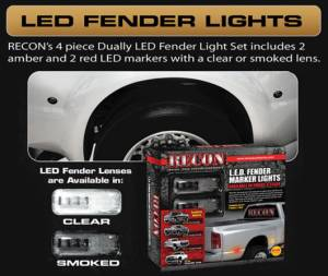 RECON - RECON 264137CL | LED Dually Fender Lights - CLEAR For Dodge Ram 10-16