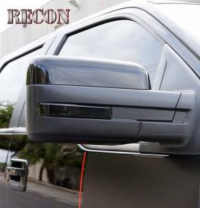 RECON - RECON 264240BK | Side Mirror Lens - SMOKED For Ford F150 & Raptor 09-14