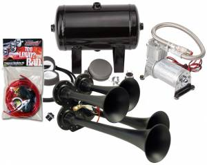 Kleinn - Kleinn HK4-1 |  Pro Blaster's Quad Air Horn Kit w/ 130 PSI Sealed Air Compressor & 1.0 gal tank