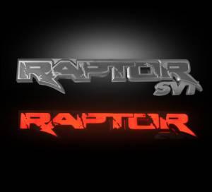RECON - Recon 264284RD 09-14 Ford SVT RAPTOR Rear Tailgate Emblem - RAPTOR in RED ILLUMINATION