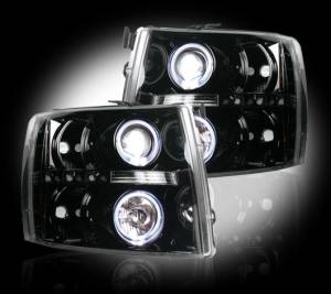 RECON - Recon 264195BKCC | Smoked Projector Headlights w/ CCFL Halos - For Chevrolet Silverado 07-13