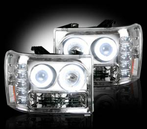 RECON - RECON 264271CLCC | CLEAR Projector Headlights w/ CCFL Halos For GMC Sierra 2007-2013