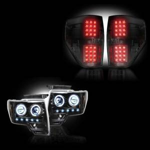 RECON - Ford F-150 & Raptor 2009-14 Recon Smoked Headlights & Tail Lights Lighting Package