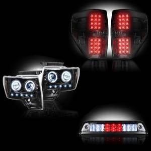 RECON - Ford F-150 & Raptor 2009-14 Recon Smoked Headlights & Tail Lights & Third Brake Light Lighting Package