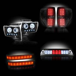 RECON - Ford F-150 & Raptor 2009-14 Recon Smoked Headlights & Tail Lights & Third Brake Light & LED Side Mirror Lenses Lighting Package