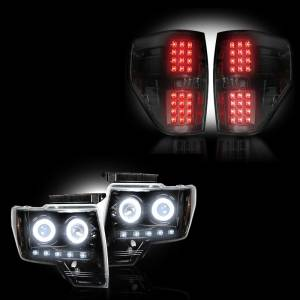 RECON - Ford F-150 & Raptor 2009-14 Recon Smoked Headlights w/ CCFL & Tail Lights Lighting Package