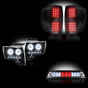 RECON - Ford F-150 & Raptor 2009-14 Recon Smoked Headlights w/ CCFL & Tail Lights & Third Brake Light Lighting Package