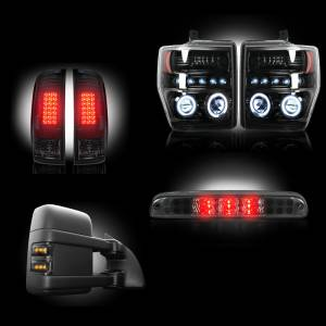 RECON - Ford Superduty F-250 to F-550 2008-10 Recon Smoked Headlights & Tail Lights & Third Brake Light & Side Mirror Lights Lighting Package