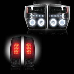 RECON - Ford Superduty F-250 to F-550 2008-10 Recon Smoked Headlights w/ CCFL Halos & Tail Lights Lighting Package