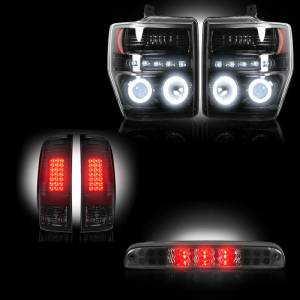 RECON - Ford Superduty F-250 to F-550 2008-10 Recon Smoked Headlights w/ CCFL Halos & Tail Lights & Third Brake Light Lighting Package