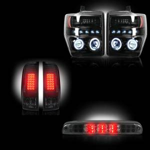 RECON - Ford Superduty F-250 to F-550 2008-10 Recon Smoked Headlights & Tail Lights & Third Brake Light Lighting Package