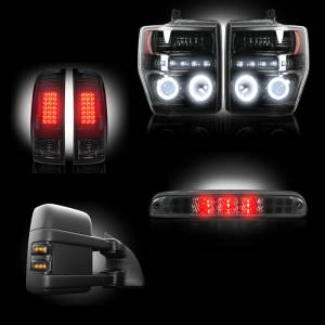 RECON - Ford Superduty F-250 to F-550 2008-10 Recon Smoked Headlights w/ CCFL Halos & Tail Lights & Third Brake Light & Side Mirror Lights Lighting Package