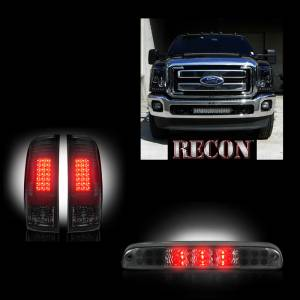 RECON - 2011-16 Ford Superduty F-250 to F-550 Recon Smoked Headlights & Tail Lights & Third Brake Light Lighting Package