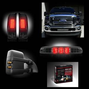 RECON - Dually Ford Superduty F-350 to F-550 2011-16 Recon Smoked Headlights & Tail Lights & Third Brake Light & Side Mirror Light + Dually Fender Lights Lighting Package