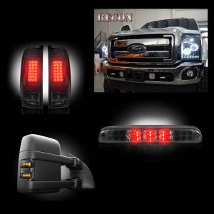 RECON - Ford Superduty F-250 to F-550 2011-2016 Recon Smoked Headlights w/ CCFL Halos & Tail Lights & Third Brake Light & Side Mirror Light Lighting Package
