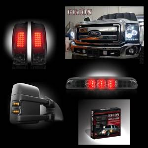 RECON - Dually Ford Superduty F-350 to F-550 2011-16 Recon Smoked Headlights w/ CCFL Halos & Tail Lights & Third Brake Light & Side Mirror Light + Dually Fender Lights Lighting Package