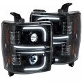 Lighting Products - Headlights & Bumper Lights - Recon - RECON Smoked U-Bar Halo Projector Headlights | 2015-2017 Chevy Silverado 2500/3500