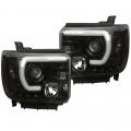 Lighting Products - Headlights & Bumper Lights - Recon - RECON Smoked U-Bar Halo Projector Headlights | 2015-2017 GMC Sierra