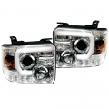 Lighting Products - Headlights & Bumper Lights - RECON - RECON Clear U-Bar Halo Projector Headlights | 2015-2017 GMC Sierra