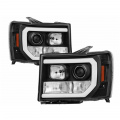 Lighting | 2011-2016 Chevy/GMC Duramax LML 6.6L - Headlights | 2011-2016 Chevy/GMC Duramax LML 6.6L - Spyder - Spyder® Black DRL Bar Projector LED Headlights | 2007-2014 GMC Sierra