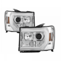 GMC Sierra 2500/3500 Lighting Products - GMC Sierra 2500/3500 Headlights - Spyder - Spyder® Chrome DRL Bar Projector LED Headlights | 2007-2014 GMC Sierra