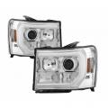 Lighting Products - Headlights & Bumper Lights - Spyder - Spyder® Chrome DRL Bar Projector LED Headlights | 2007-2014 GMC Sierra