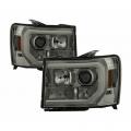 Lighting Products - Headlights & Bumper Lights - Spyder - Spyder® Smoke Chrome DRL Bar Projector LED Headlights | 2007-2014 GMC Sierra