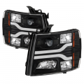 Chevrolet Silverado / Sierra Lighting Products - Chevrolet Silverado 1500 Headlights  - Spyder - Spyder® Black DRL Bar Projector LED Headlights | 2007-2014 Chevy Silverado