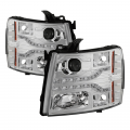 Chevrolet Silverado 2500/3500 Lighting Products - Chevrolet Silverado 2500/3500 Headlights - Spyder - Spyder® Chrome Projector Headlights with LED DRL | 2007-2014 Chevy Silverado