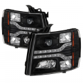 Lighting Products - Headlights & Bumper Lights - Spyder - Spyder® Black Projector Headlights with LED DRL | 2007-2014 Chevy Silverado