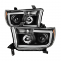 Toyota Tundra Landing Page - Toyota Tundra Lighting Products - Spyder - Spyder® Black Projector Headlights w/LED U-Bar | 2007-2013 Tacoma / 2008-2013 Sequoia