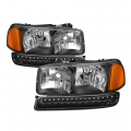 Lighting Products - Headlights & Bumper Lights - Spyder - Spyder® Black Euro Style Headlights w/LED Bumper Lights | 1999-2006 GMC Sierra / 2000-2006 GMC Yukon